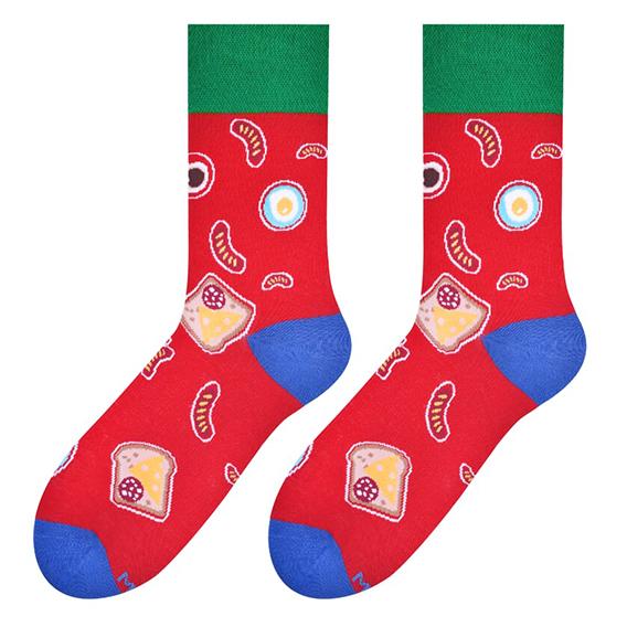 breakfast socks - red